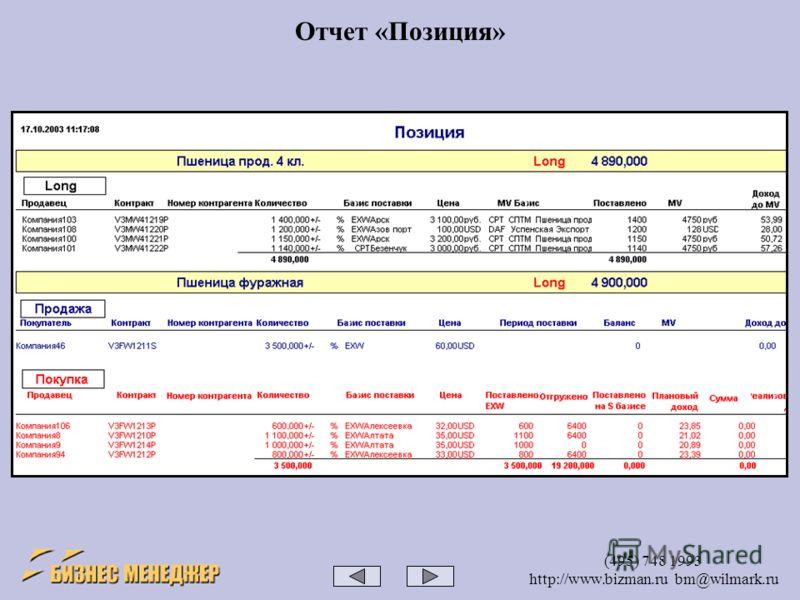 (495) 748 1993 http://www.bizman.ru bm@wilmark.ru Отчет «Позиция»
