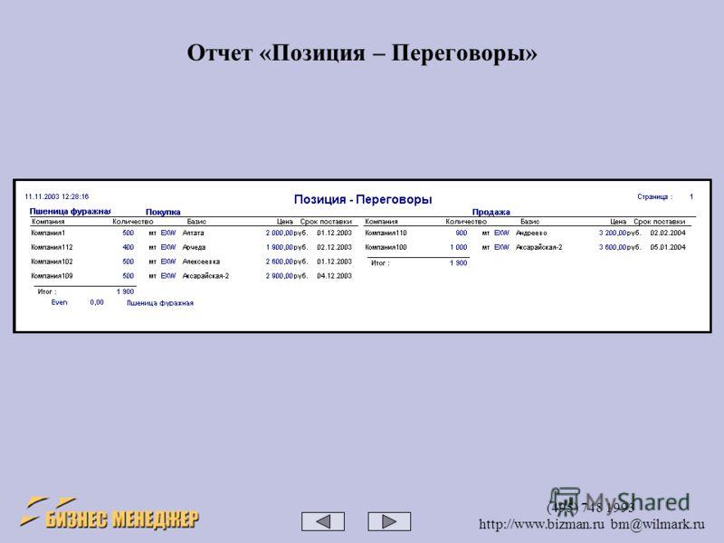 (495) 748 1993 http://www.bizman.ru bm@wilmark.ru Отчет «Позиция – Переговоры»