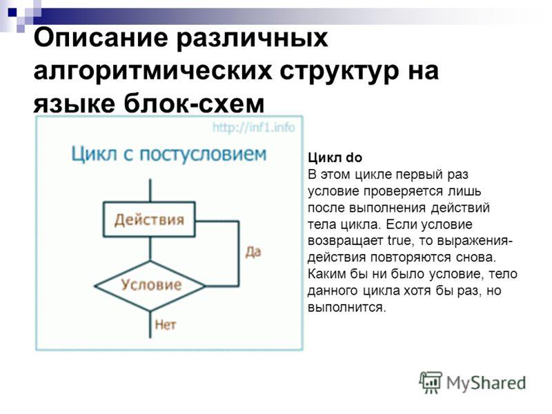 Описание различных алгоритмических структур на языке блок-схем Цикл do В этом цикле первый раз условие проверяется лишь после выполнения действий тела цикла. Если условие возвращает true, то выражения- действия повторяются снова. Каким бы ни было усл