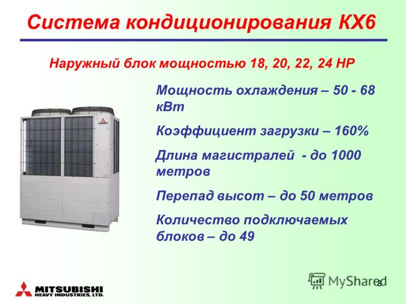 8 Система кондиционирования КХ6 Мощность охлаждения – 50 - 68 кВт Коэффициент загрузки – 160% Длина магистралей - до 1000 метров Перепад высот – до 50 метров Количество подключаемых блоков – до 49 Наружный блок мощностью 18, 20, 22, 24 НР
