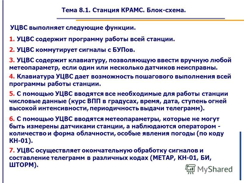 Тема 8.1. Станция КРАМС. Блок-схема. УЦВС выполняет следующие функции. 1. УЦВС содержит программу работы всей станции. 2. УЦВС коммутирует сигналы с БУПов. 3. УЦВС содержит клавиатуру, позволяющую ввести вручную любой метеопараметр, если один или нес