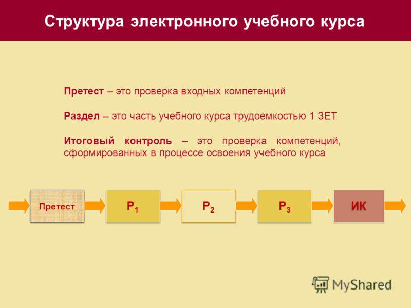 18 Структура электронного учебного курса Претест Р1Р1 Р1Р1 ИК Р2Р2 Р2Р2 Р3Р3 Р3Р3 Претест – это проверка входных компетенций Раздел – это часть учебного курса трудоемкостью 1 ЗЕТ Итоговый контроль – это проверка компетенций, сформированных в процессе