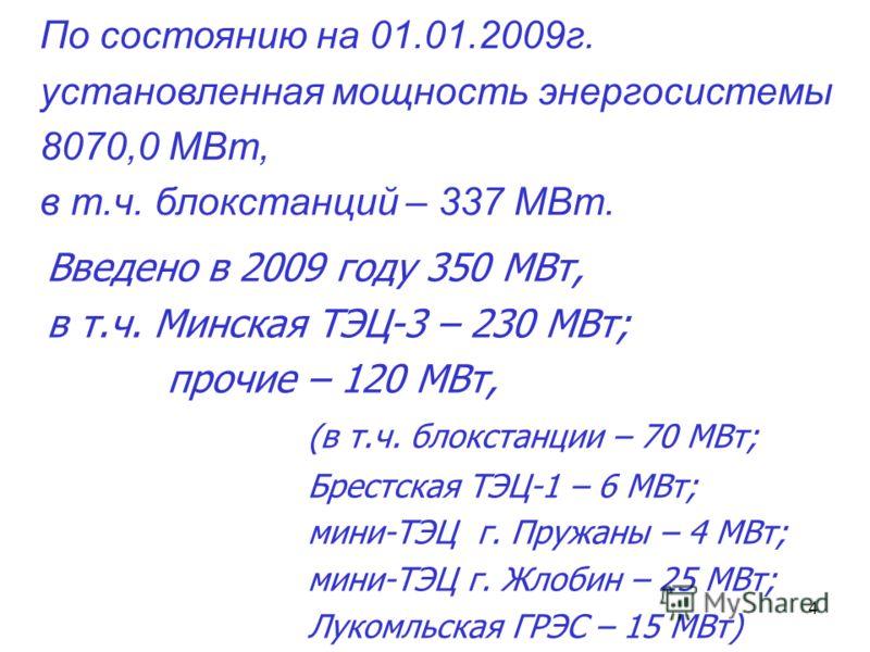 4 Введено в 2009 году 350 МВт, в т.ч. Минская ТЭЦ-3 – 230 МВт; прочие – 120 МВт, (в т.ч. блокстанции – 70 МВт; Брестская ТЭЦ-1 – 6 МВт; мини-ТЭЦ г. Пружаны – 4 МВт; мини-ТЭЦ г. Жлобин – 25 МВт; Лукомльская ГРЭС – 15 МВт) По состоянию на 01.01.2009г.