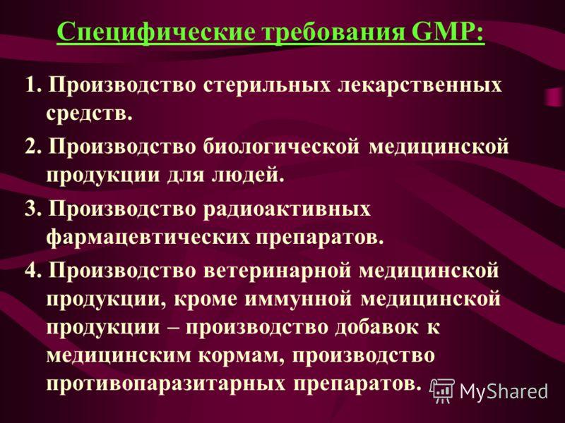 Специфические требования GMP: 1. Производство стерильных лекарственных средств. 2. Производство биологической медицинской продукции для людей. 3. Производство радиоактивных фармацевтических препаратов. 4. Производство ветеринарной медицинской продукц