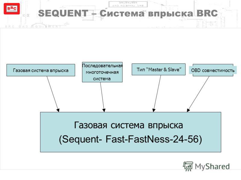 BRC GAS EQUIPMENT Газовая система впрыска (Sequent- Fast-FastNess-24-56) Газовая система впрыска Последовательная многоточечная система Тип Master & Slave OBD совместимость SEQUENT – Система впрыска BRC