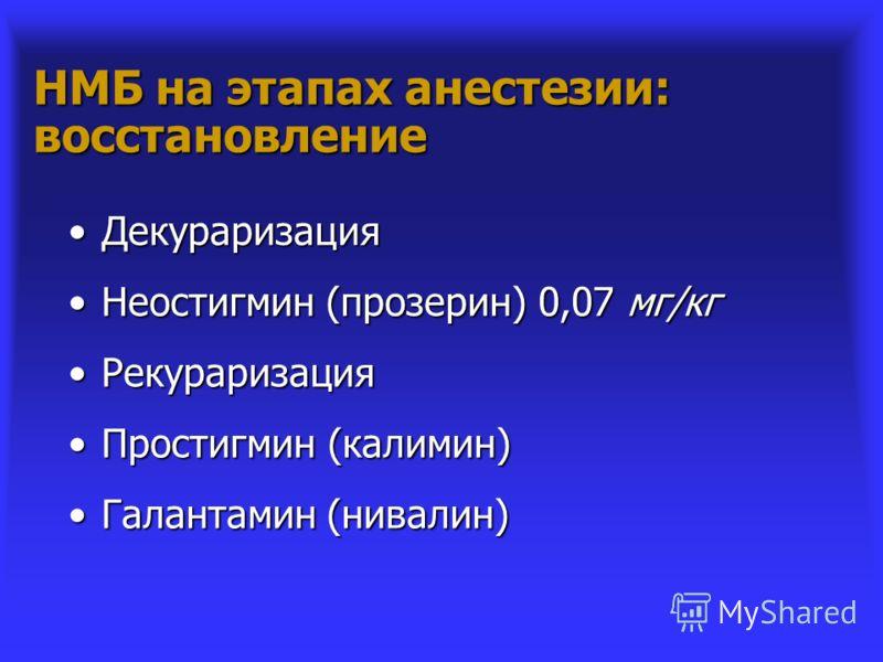 НМБ на этапах анестезии: восстановление ДекураризацияДекураризация Неостигмин (прозерин) 0,07 мг/кгНеостигмин (прозерин) 0,07 мг/кг РекураризацияРекураризация Простигмин (калимин)Простигмин (калимин) Галантамин (нивалин)Галантамин (нивалин)