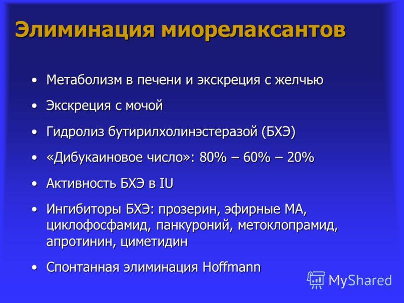 Элиминация миорелаксантов Метаболизм в печени и экскреция с желчьюМетаболизм в печени и экскреция с желчью Экскреция с мочойЭкскреция с мочой Гидролиз бутирилхолинэстеразой (БХЭ)Гидролиз бутирилхолинэстеразой (БХЭ) «Дибукаиновое число»: 80% – 60% – 2