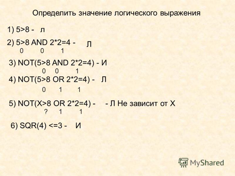 Определить значение логического выражения 1) 5>8 -л 2) 5>8 AND 2*2=4 - 010 Л 3) NOT(5>8 AND 2*2=4) - 010 И 4) NOT(5>8 OR 2*2=4) - 011 Л 5) NOT(Х>8 OR 2*2=4) - - Л Не зависит от Х 1? 6) SQR(4)
