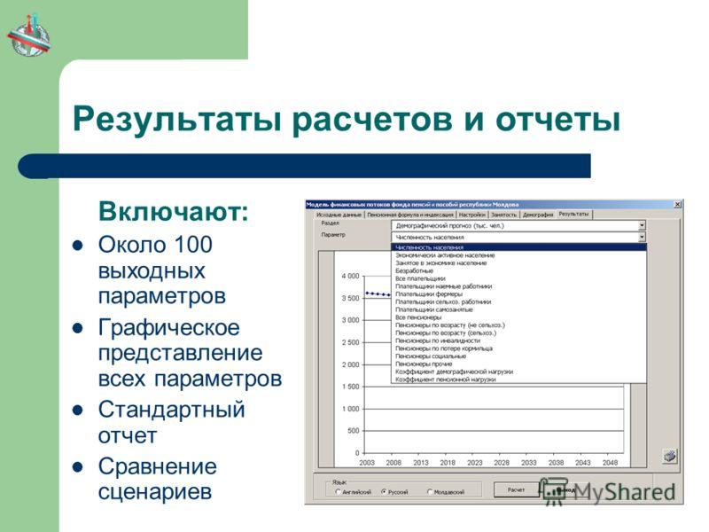 Результаты расчетов и отчеты Включают: Около 100 выходных параметров Графическое представление всех параметров Стандартный отчет Сравнение сценариев