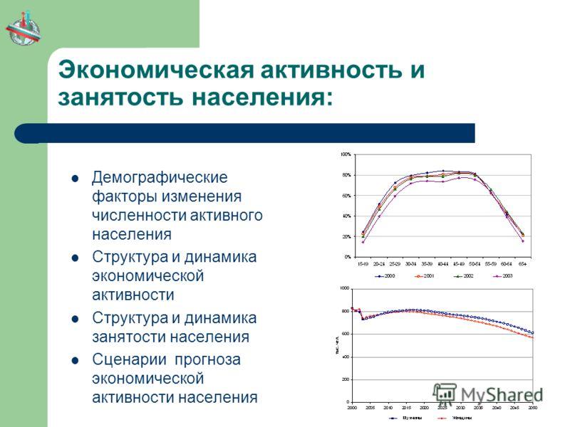 Экономическая активность и занятость населения: Демографические факторы изменения численности активного населения Структура и динамика экономической активности Структура и динамика занятости населения Сценарии прогноза экономической активности населе