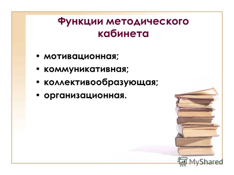Функции методического кабинета мотивационная; коммуникативная; коллективообразующая; организационная.