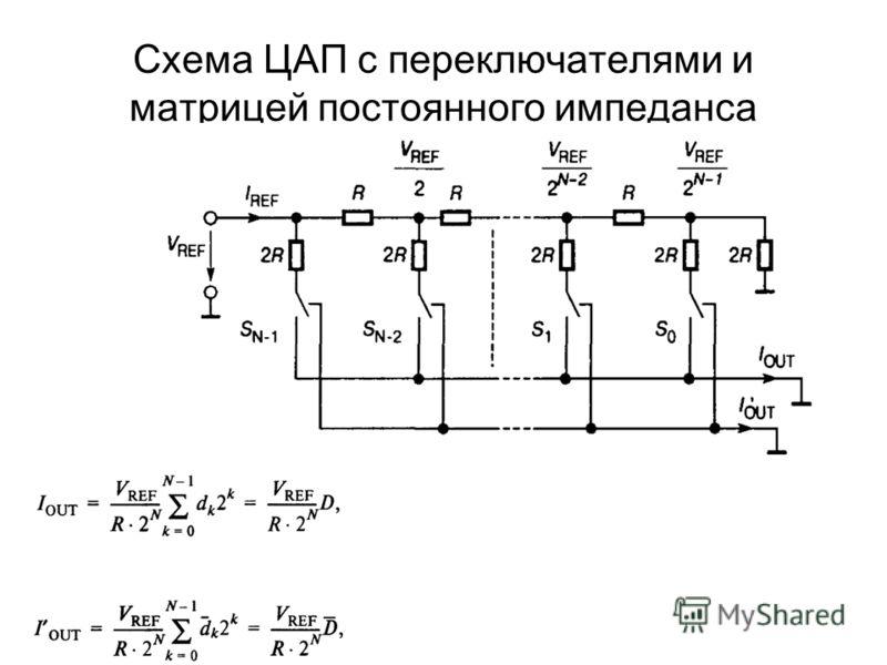 Схема ЦАП с переключателями и матрицей постоянного импеданса