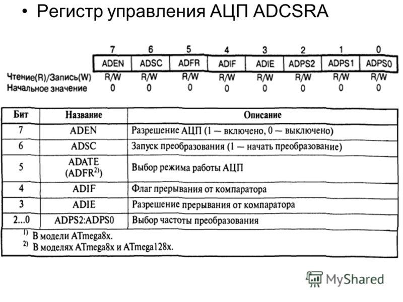 Регистр управления АЦП ADCSRA