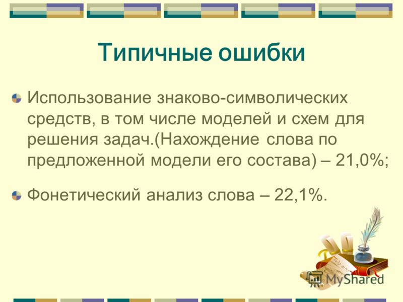 Типичные ошибки Использование знаково-символических средств, в том числе моделей и схем для решения задач.(Нахождение слова по предложенной модели его состава) – 21,0%; Фонетический анализ слова – 22,1%.