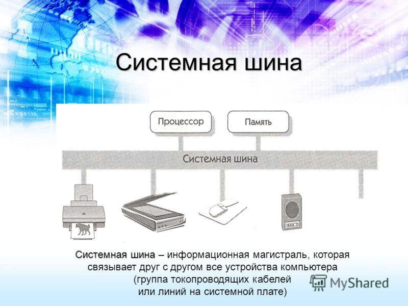 Системная шина Системная шина Системная шина – информационная магистраль, которая связывает друг с другом все устройства компьютера (группа токопроводящих кабелей или линий на системной плате)
