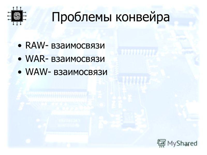 16 Проблемы конвейра RAW- взаимосвязи WAR- взаимосвязи WAW- взаимосвязи