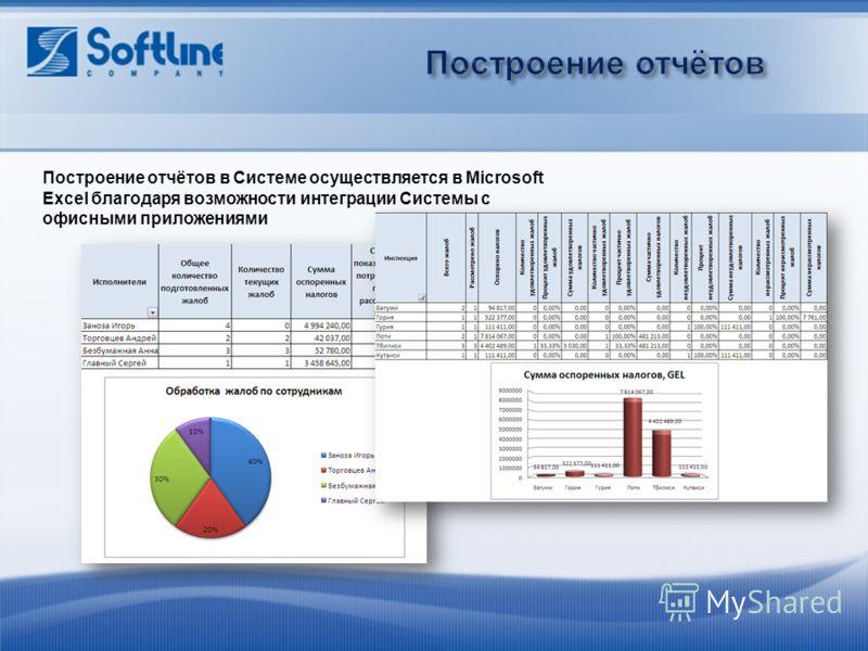 Построение отчётов в Системе осуществляется в Microsoft Excel благодаря возможности интеграции Системы с офисными приложениями