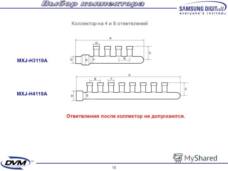 14 MXJ-2209A AVMGH 052 AVMFH 070 AVMGH 052 24,4 кВт 12,2 кВт19,2 кВт MXJ-3112A RVMH100GAM3 Пример выбора разветвителей