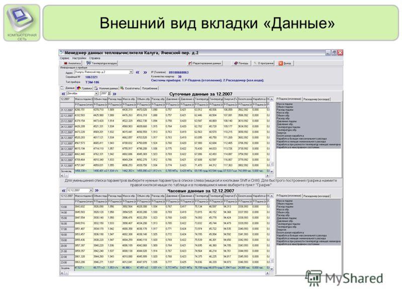 Внешний вид вкладки «Данные»