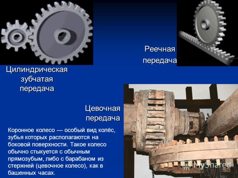 Цилиндрическая зубчатая передача Реечнаяпередача Цевочная передача Коронное колесо особый вид колёс, зубья которых располагаются на боковой поверхности. Такое колесо обычно стыкуется с обычным прямозубым, либо с барабаном из стержней (цевочное колесо