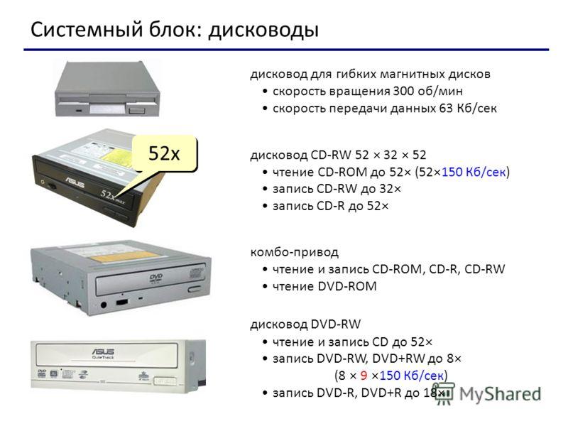 Системный блок: дисководы дисковод для гибких магнитных дисков скорость вращения 300 об/мин скорость передачи данных 63 Кб/сек дисковод CD-RW 52 32 52 чтение CD-ROM до 52 (52 150 Кб/сек) запись CD-RW до 32 запись CD-R до 52 52x комбо-привод чтение и