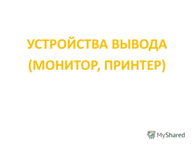 УСТРОЙСТВА ВЫВОДА (МОНИТОР, ПРИНТЕР)