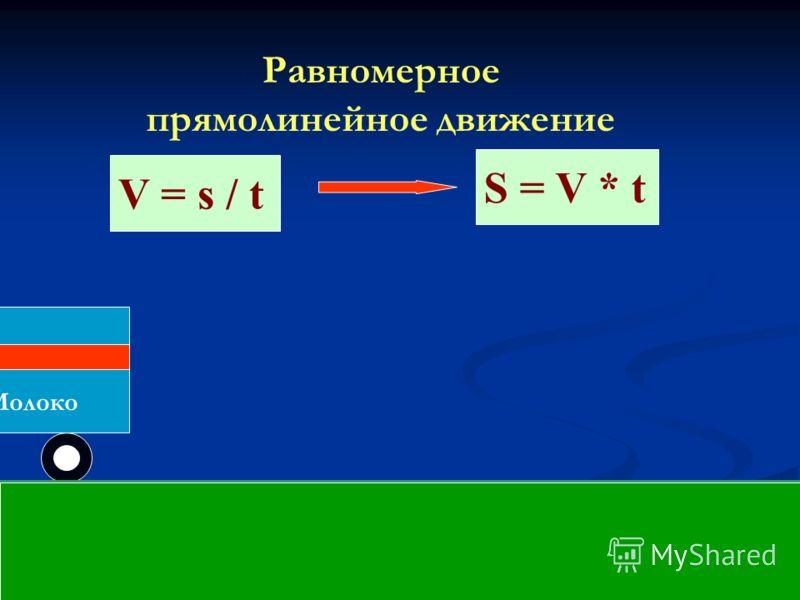 Молоко Равномерное прямолинейное движение V = s / t S = V * t