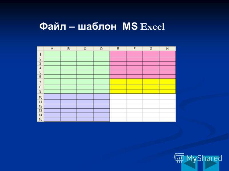 Файл – шаблон MS Excel