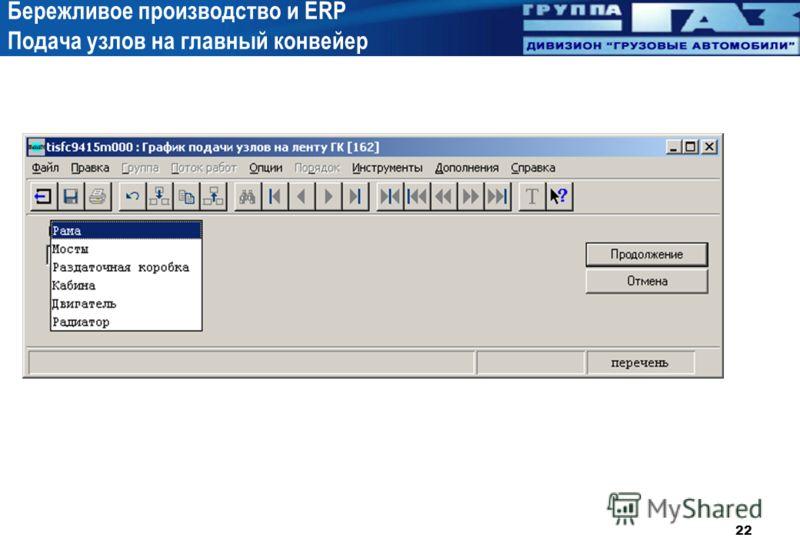 22 Бережливое производство и ERP Подача узлов на главный конвейер