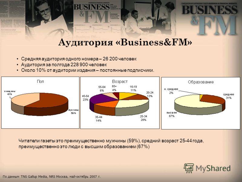 Аудитория «Business&FM» Читатели газеты это преимущественно мужчины (59%), средний возраст 25-44 года, преимущественно это люди с высшим образованием (67%) Средняя аудитория одного номера – 26 200 человек Аудитория за полгода 228 900 человек Около 10