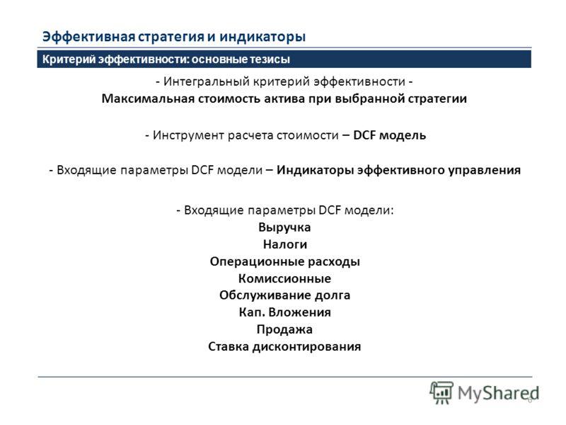 6 Критерий эффективности: основные тезисы Эффективная стратегия и индикаторы - Интегральный критерий эффективности - Максимальная стоимость актива при выбранной стратегии - Инструмент расчета стоимости – DCF модель - Входящие параметры DCF модели – И