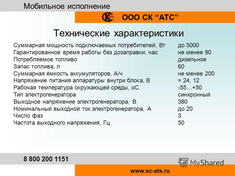 Мобильное исполнение ООО СК АТС 8 800 200 1151 www.sc-ats.ru Технические характеристики Суммарная мощность подключаемых потребителей, Вт до 5000 Гарантированное время работы без дозаправки, час не менее 90 Потребляемое топливо дизельное Запас топлива