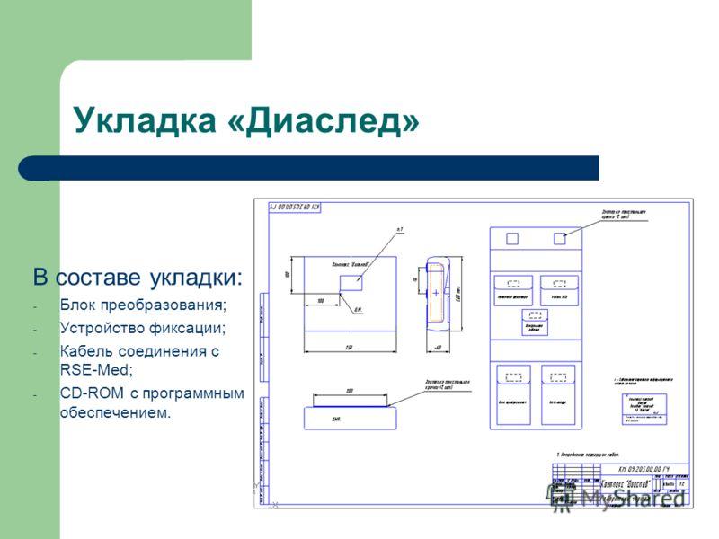 Укладка «Диаслед» В составе укладки: - Блок преобразования; - Устройство фиксации; - Кабель соединения с RSE-Med; - CD-ROM с программным обеспечением.