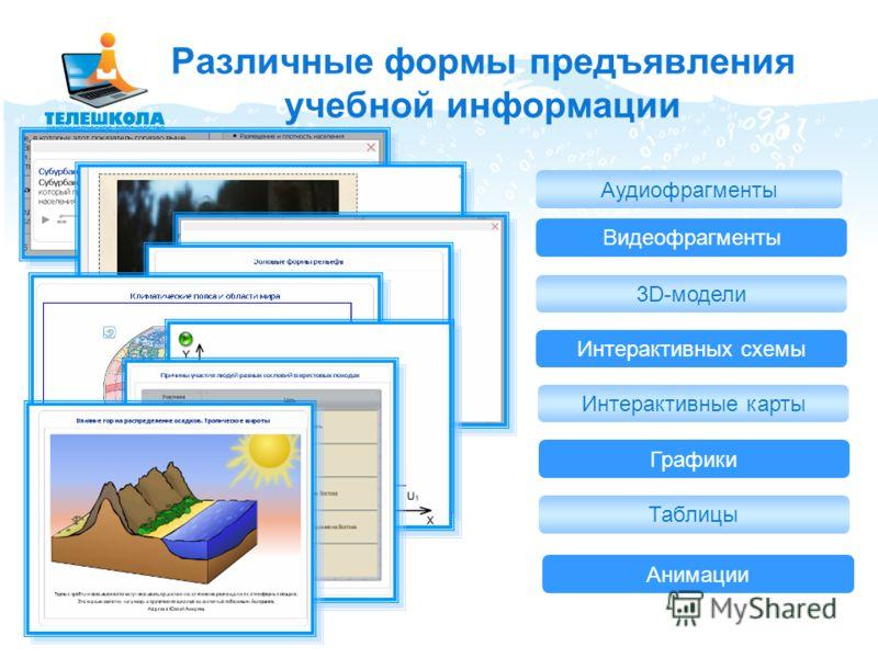 Видеофрагменты Аудиофрагменты 3D-модели Интерактивных схемы Различные формы предъявления учебной информации Интерактивные карты Графики Таблицы Анимации