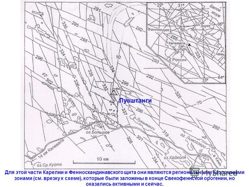 Луаштанги Для этой части Карелии и Фенноскандинавского щита они являются региональными разломными зонами (см. врезку к схеме), которые были заложены в конце Свекофеннской орогении, но оказались активными и сейчас.