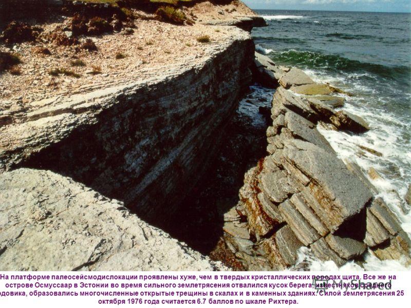 На платформе палеосейсмодислокации проявлены хуже, чем в твердых кристаллических породах щита. Все же на острове Осмуссаар в Эстонии во время сильного землетрясения отвалился кусок берега, известняков среднего ордовика, образовались многочисленные от