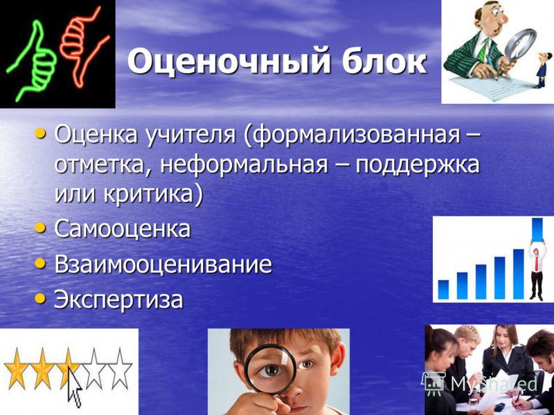 Оценочный блок Оценка учителя (формализованная – отметка, неформальная – поддержка или критика) Оценка учителя (формализованная – отметка, неформальная – поддержка или критика) Самооценка Самооценка Взаимооценивание Взаимооценивание Экспертиза Экспер