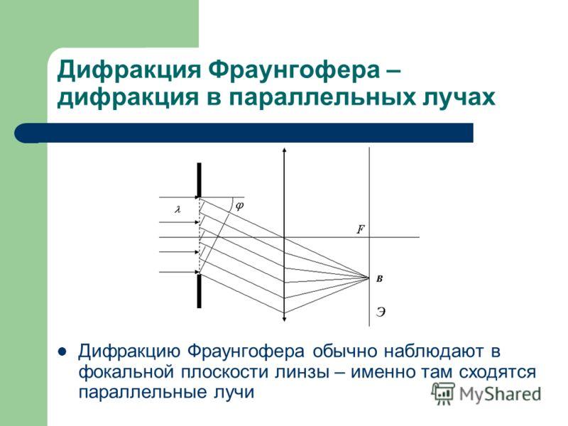 Дифракция Фраунгофера – дифракция в параллельных лучах Дифракцию Фраунгофера обычно наблюдают в фокальной плоскости линзы – именно там сходятся параллельные лучи