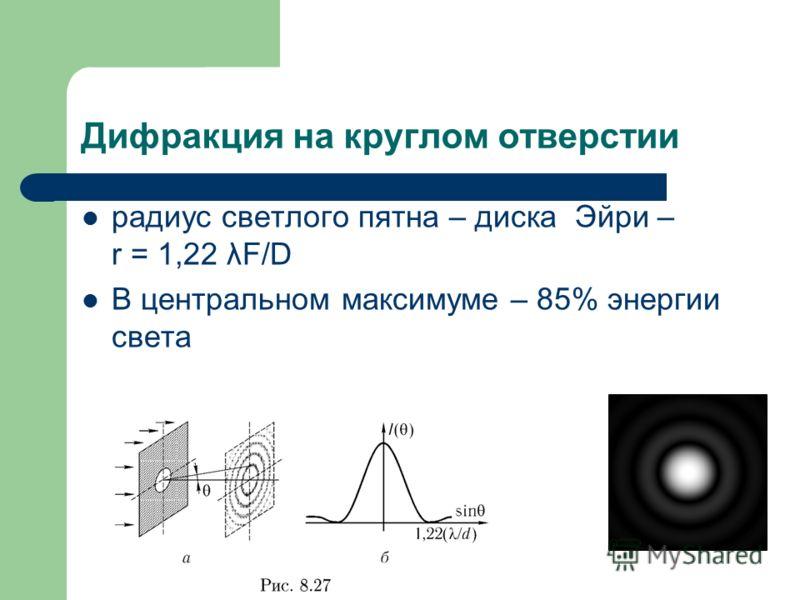 Дифракция на круглом отверстии радиус светлого пятна – диска Эйри – r = 1,22 λF/D В центральном максимуме – 85% энергии света