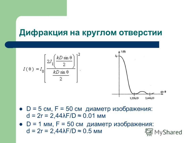 Дифракция на круглом отверстии D = 5 см, F = 50 см диаметр изображения: d = 2r = 2,44λF/D 0.01 мм D = 1 мм, F = 50 см диаметр изображения: d = 2r = 2,44λF/D 0.5 мм