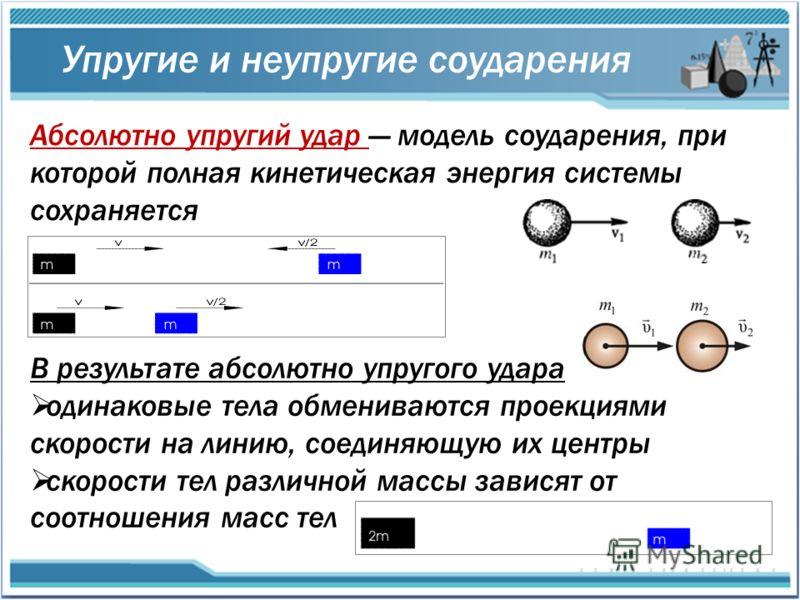 Абсолютно упругий удар модель соударения, при которой полная кинетическая энергия системы сохраняется Упругие и неупругие соударения В результате абсолютно упругого удара одинаковые тела обмениваются проекциями скорости на линию, соединяющую их центр