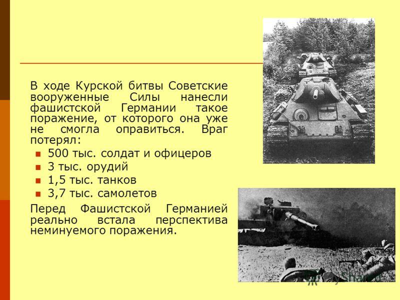 В ходе Курской битвы Советские вооруженные Силы нанесли фашистской Германии такое поражение, от которого она уже не смогла оправиться. Враг потерял: 500 тыс. солдат и офицеров 3 тыс. орудий 1,5 тыс. танков 3,7 тыс. самолетов Перед Фашистской Германие