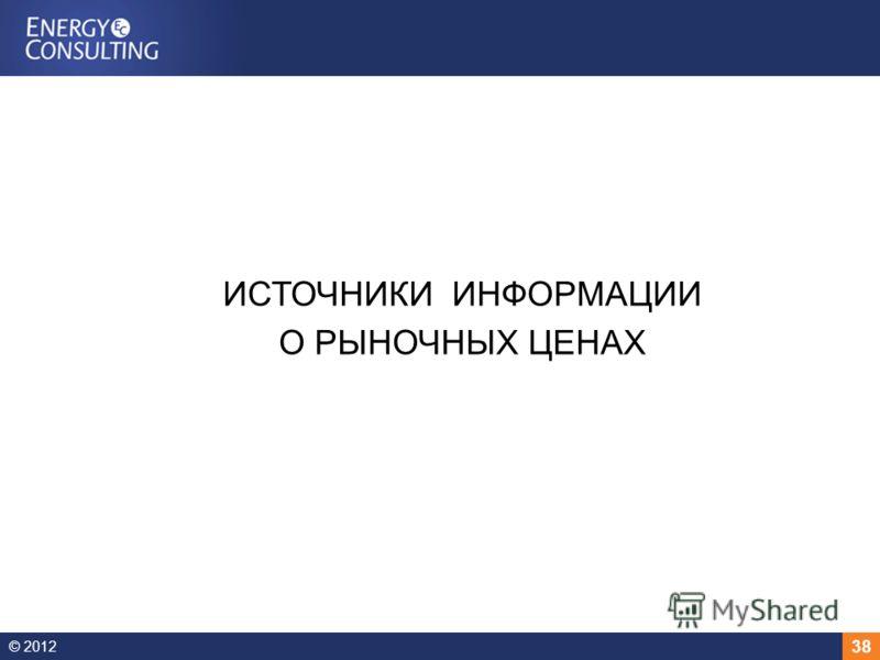 © 2012 38 ИСТОЧНИКИ ИНФОРМАЦИИ О РЫНОЧНЫХ ЦЕНАХ