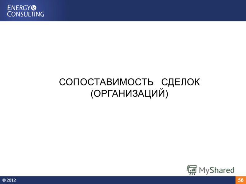 © 2012 56 СОПОСТАВИМОСТЬ СДЕЛОК (ОРГАНИЗАЦИЙ)