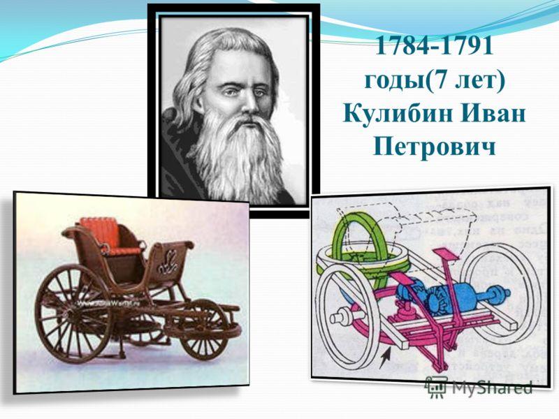 1784-1791 годы(7 лет) Кулибин Иван Петрович