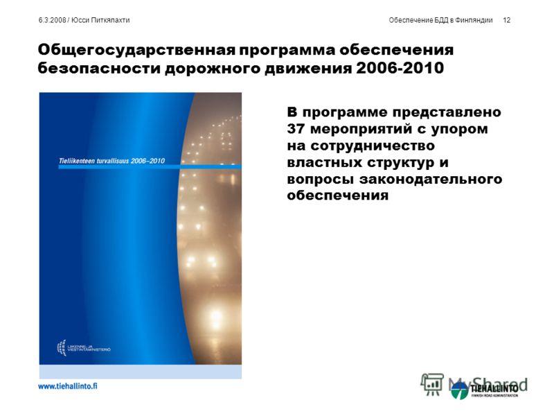 Обеспечение БДД в Финляндии12 6.3.2008 / Юсси Питкялахти Общегосударственная программа обеспечения безопасности дорожного движения 2006-2010 В программе представлено 37 мероприятий с упором на сотрудничество властных структур и вопросы законодательно