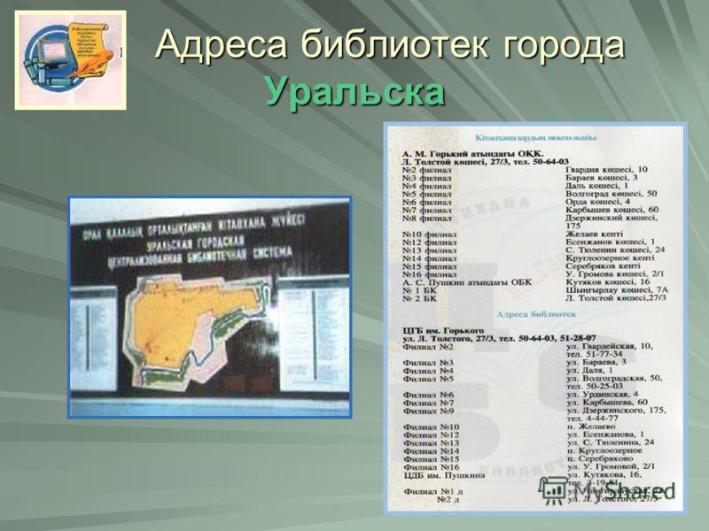Адреса библиотек города Уральска
