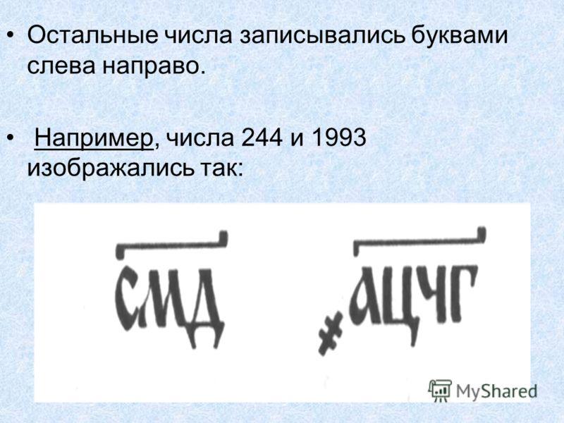 Остальные числа записывались буквами слева направо. Например, числа 244 и 1993 изображались так: