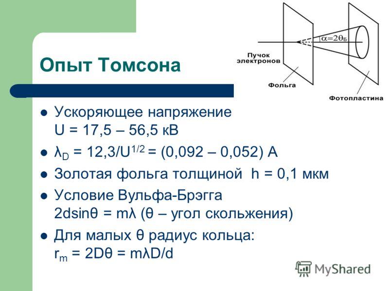 Опыт Томсона Ускоряющее напряжение U = 17,5 – 56,5 кВ λ D = 12,3/U 1/2 = (0,092 – 0,052) A Золотая фольга толщиной h = 0,1 мкм Условие Вульфа-Брэгга 2dsinθ = mλ (θ – угол скольжения) Для малых θ радиус кольца: r m = 2Dθ = mλD/d