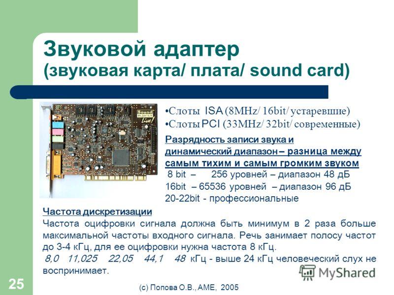 (с) Попова О.В., AME, 2005 24 Графические режимы РежимРазрешение (гор. x вер.) VGA640x480 SVGA800x600 XGA1024x768 SXGA1280x1024 UXGA1600x1200 А А SVGA XGA 800 600 1024 768